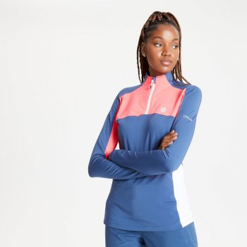 Default Core Stretch-Midlayer mit halblangem Reißverschluss für Damen Blau