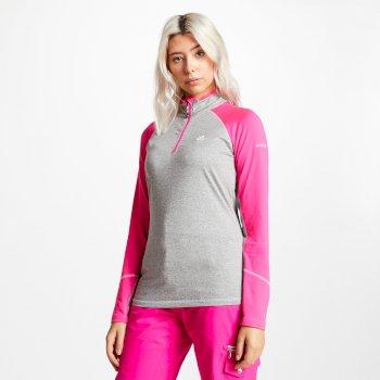 Involved Core - Damen Midlayer-Shirt - Stretchstoff Ash Grey Cyber Pink