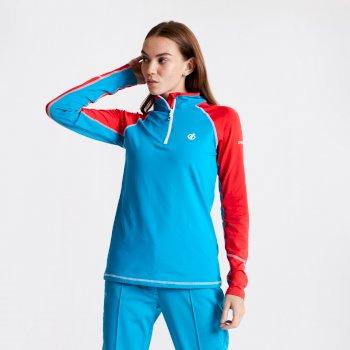 Involved Core - Damen Midlayer-Shirt - Stretchstoff Freshwater Blue Lollipop Red