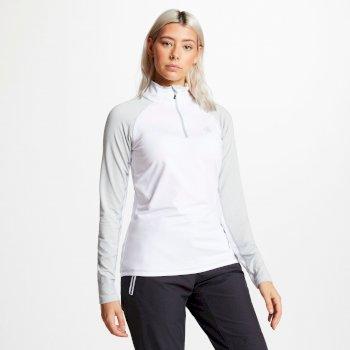 Involved Core - Damen Midlayer-Shirt - Stretchstoff Weiß/Silbergrau