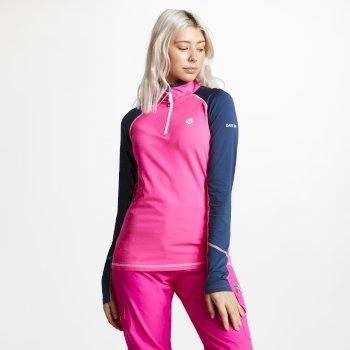 Involved Core - Damen Midlayer-Shirt - Stretchstoff Cyberpink/Nachtblau