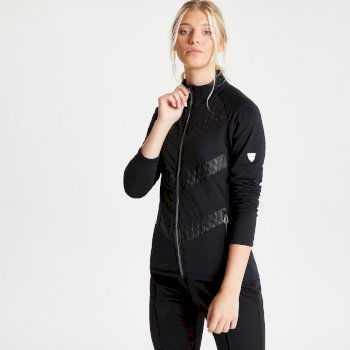 Dare 2b Swarovski Embellished - Women's Dominion Full Zip Lightweight Luxe Core Stretch Midlayer - Black
