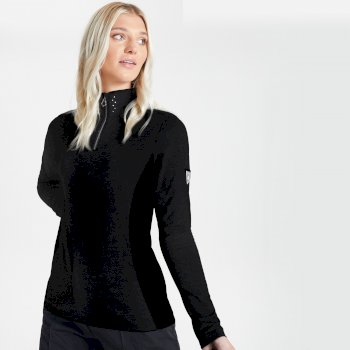 Dare 2b Swarovski Embellished - Women's Bejewel Half Zip Lightweight Luxe Core Stretch Midlayer - Black