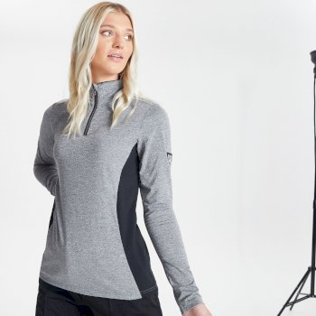 Dare 2b Swarovski Embellished - Women's Bejewel Half Zip Lightweight Luxe Core Stretch Midlayer - Mid Grey