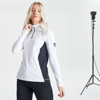 Dare 2b Swarovski Embellished - Women's Bejewel Half Zip Lightweight Luxe Core Stretch Midlayer - White