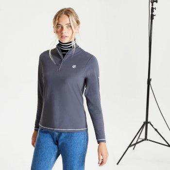Lowline II leichter Core Stretch-Midlayer mit halblangem Reißverschluss für Damen Grau