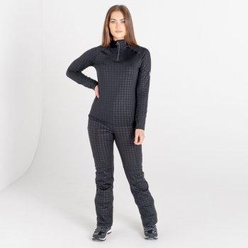 Swarovski Embellished - Outfast Luxe Leichter Core Stretch-Midlayer Mit Halblangem Reißverschluss Für Damen Schwarz