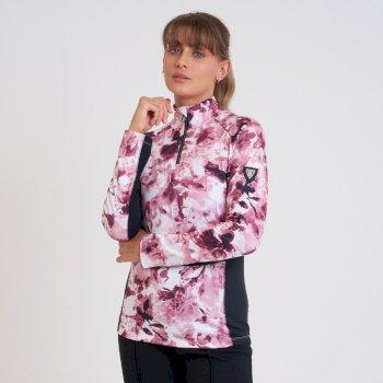 Swarovski Embellished - Outfast Luxe Leichter Core Stretch-Midlayer Mit Halblangem Reißverschluss Für Damen Rosa