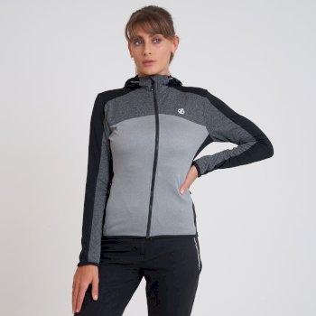 Courage Core Stretch-Midlayer mit durchgehendem Reißverschluss und Kapuze für Damen Schwarz