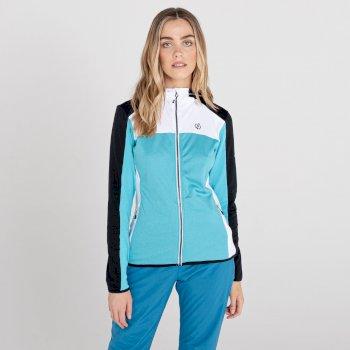 Courage Core Stretch-Midlayer mit durchgehendem Reißverschluss und Kapuze für Damen Blau