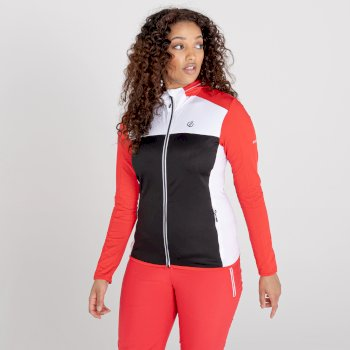 Courage Core Stretch-Midlayer mit durchgehendem Reißverschluss und Kapuze für Damen Rot