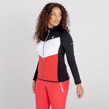 Elation Core Stretch-Midlayer mit durchgehendem Reißverschluss für Damen Rot