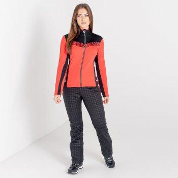 Mit Swarovski verziert - Divinity luxuriöser Core-Stretch-Midlayer mit durchgehendem Reißverschluss für Damen Rot