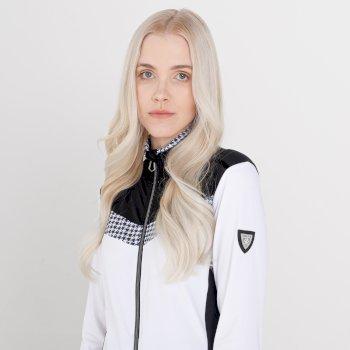 Mit Swarovski verziert - Divinity luxuriöser Core-Stretch-Midlayer mit durchgehendem Reißverschluss für Damen Weiß