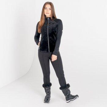 Mit Swarovski verziert - Stunning luxuriöser Core-Stretch-Midlayer mit durchgehendem Reißverschluss für Damen Schwarz