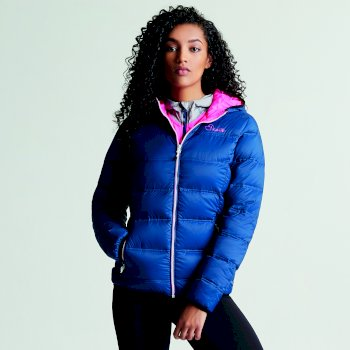 Dare2b Women's Low Down Insulated Jacket Blue Wing Luminous Pink