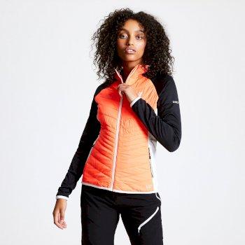 Nominate Woll-Hybrid-Baffle-Jacke mit Kapuze für Damen Orange