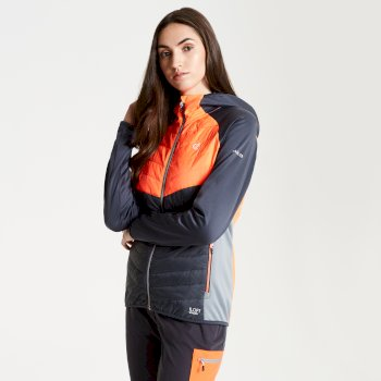 Nominate Woll-Hybrid-Baffle-Jacke mit Kapuze für Damen Ebony Fiery Coral