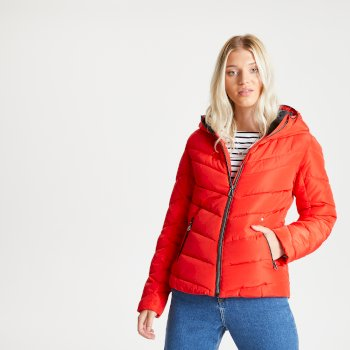 Dare 2b Swarovski Embellished - Women's Reputable Insulated Quilted Hooded Luxe Jacket - Seville Red