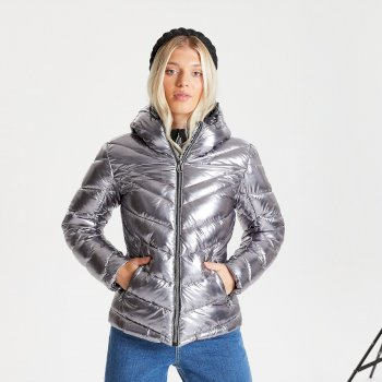 Dare 2b Swarovski Embellished - Women's Reputable Insulated Quilted Hooded Luxe Jacket - Chrome