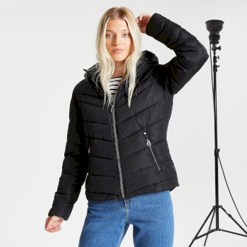Dare 2b Swarovski Embellished - Women's Reputable Insulated Quilted Hooded Luxe Jacket - Black