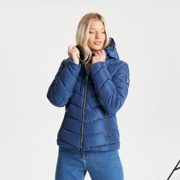 Dare 2b Swarovski Embellished - Women's Reputable Insulated Quilted Hooded Luxe Jacket - Dark Denim