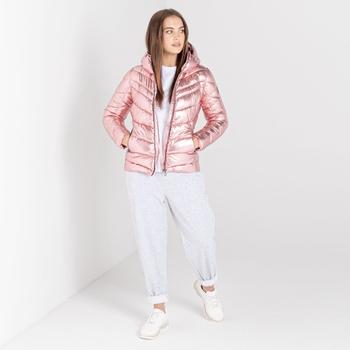 Swarovski Embellished - Reputable Luxe isolierte Steppjacke mit Kapuze für Damen Rosa