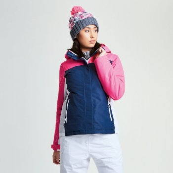 Dare2b Women's Prosperity Ski Jacket Blue Wing Luminous Pink