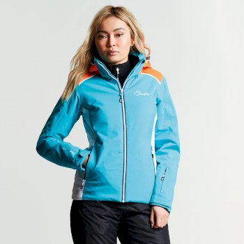 Dare 2b Women's Inflect Ski Jacket - Aqua Blue Vibrant Orange