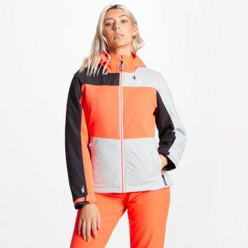 Purview - Damen Skijacke Argent Grey Fiery Coral Ebony