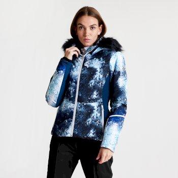 Iceglaze - Damen Luxus-Skijacke - Kunstfell-Besatz Blue Wing