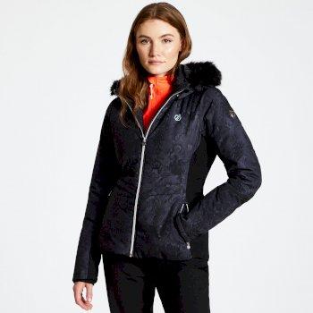 Iceglaze - Damen Luxus-Skijacke - Kunstfell-Besatz Black