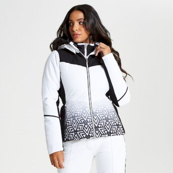 Iceglaze - Damen Luxus-Skijacke - Kunstfell-Besatz White