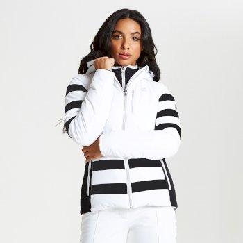 Snowglow - Damen Luxus-Skijacke - Kunstfell-Besatz White Black