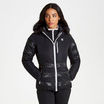 Snowglow - Damen Luxus-Skijacke - Kunstfell-Besatz Black