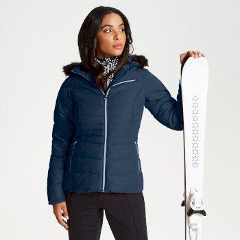 Glamorize - Damen Luxus-Skijacke - Kunstfell-Besatz Blue Wing