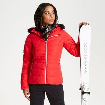 Glamorize - Damen Luxus-Skijacke - Kunstfell-Besatz Lollipop Red
