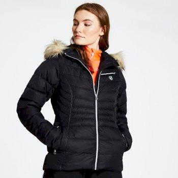 Glamorize - Damen Luxus-Skijacke - Kunstfell-Besatz Black