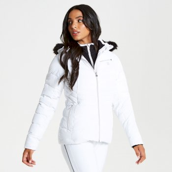 Glamorize - Damen Luxus-Skijacke - Kunstfell-Besatz White