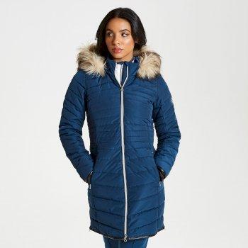 Striking - Damen Luxus-Skijacke - lang & gesteppt Nachtblau
