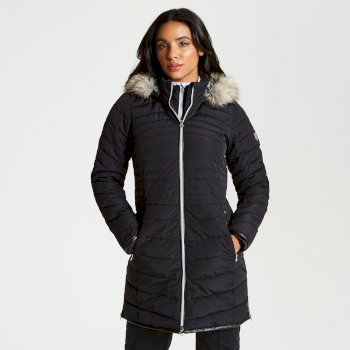 Women's Striking Long Length Quilted Luxe Ski Jacket - Black