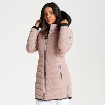 Striking - Damen Luxus-Skijacke - lang & gesteppt Mink Pink