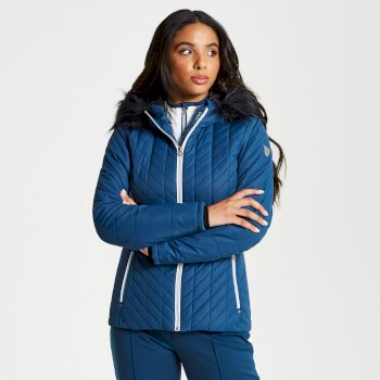 Icebloom - Damen Luxus-Skijacke - Kunstfell Blue Wing