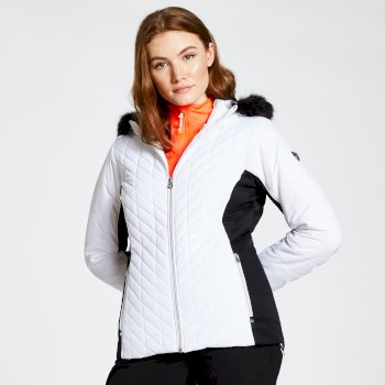 Icebloom - Damen Luxus-Skijacke - Kunstfell White