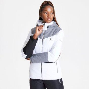 Ice Gleam wasserdichte, isolierte Skijacke mit Kapuze für Damen Weiß