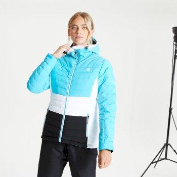 Succeed wasserdichte, isolierte, gesteppte Skijacke mit Kapuze für Damen Blau