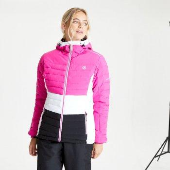 Succeed wasserdichte, isolierte, gesteppte Skijacke mit Kapuze für Damen Rosa