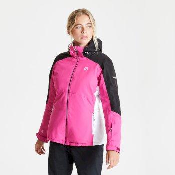 Radiate wasserdichte, isolierte Skijacke mit Kapuze für Damen Rosa