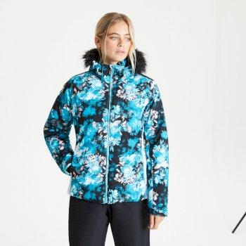 Province wasserdichte, isolierte Skijacke mit Kapuze mit Pelzbesatz für Damen Blau