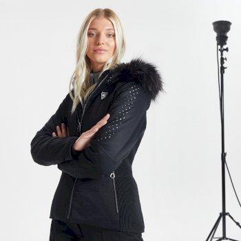 Swarovski Embellished - Bejewel Luxe wasserdichte, isolierte Skijacke mit Kapuze mit Pelzbesatz für Damen Schwarz
